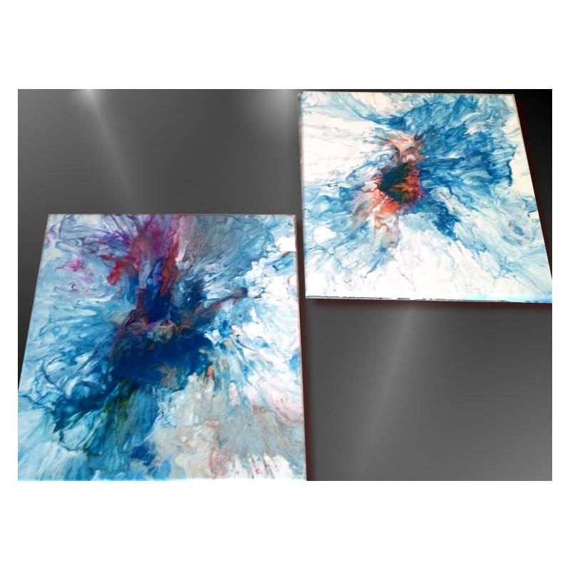 Tableau acrylique fluide pouring