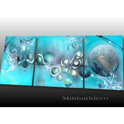 Tableau abstrait bleu...