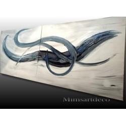 Tableau moderne bleu et blanc