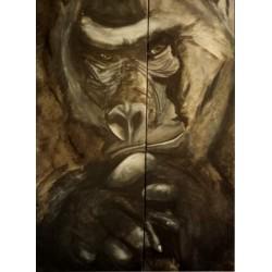 Peinture gorille sur toile