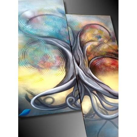 Tableau abstrait grand format arbre de vie