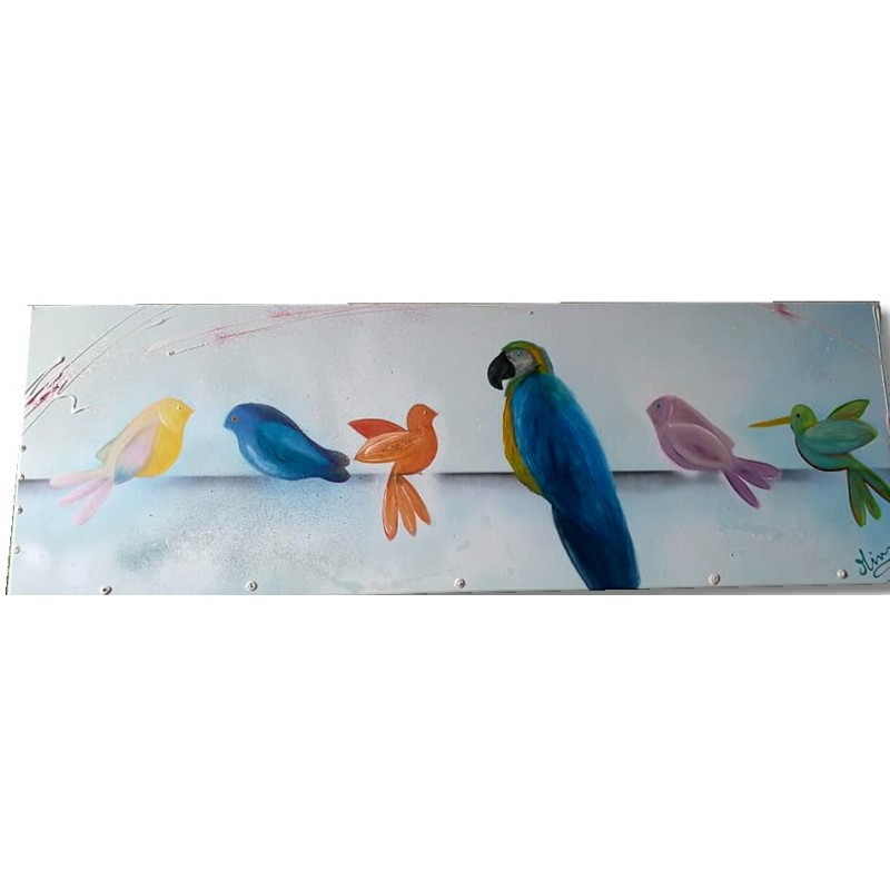 Tableau abstrait oiseaux