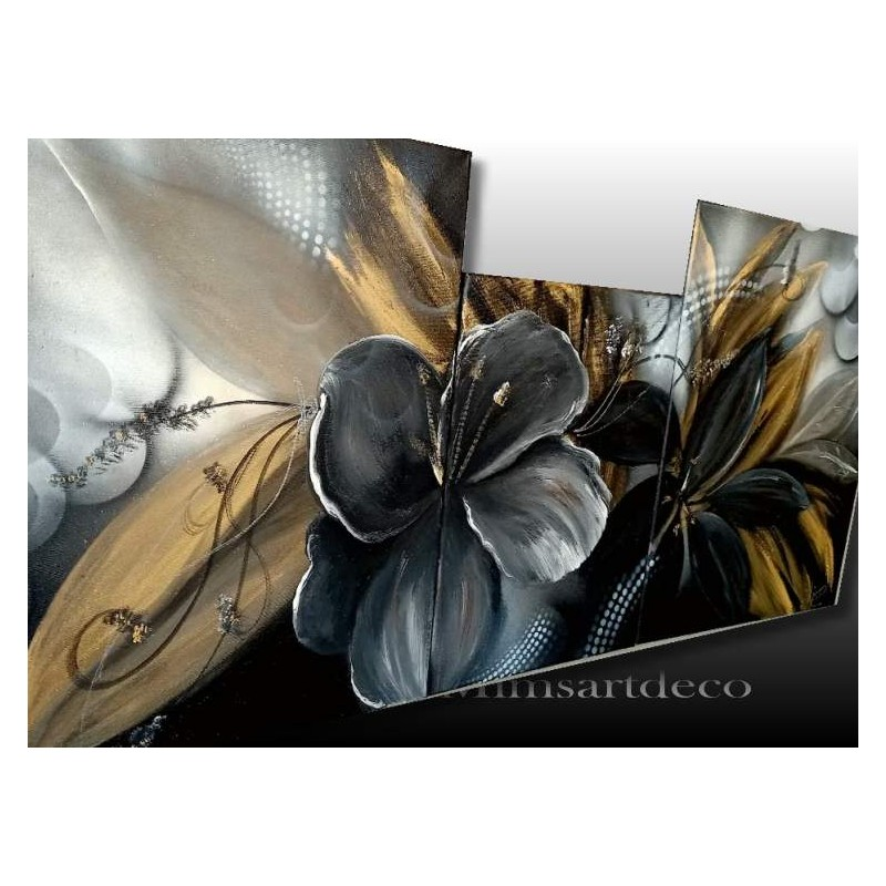 Tableau fleur noir et doré