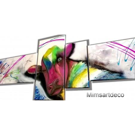 Tableau abstrait vache multicolore