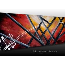 Tableau abstrait moderne rouge, peinture sur toile
