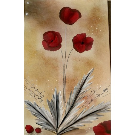 Tableau coquelicot rouge
