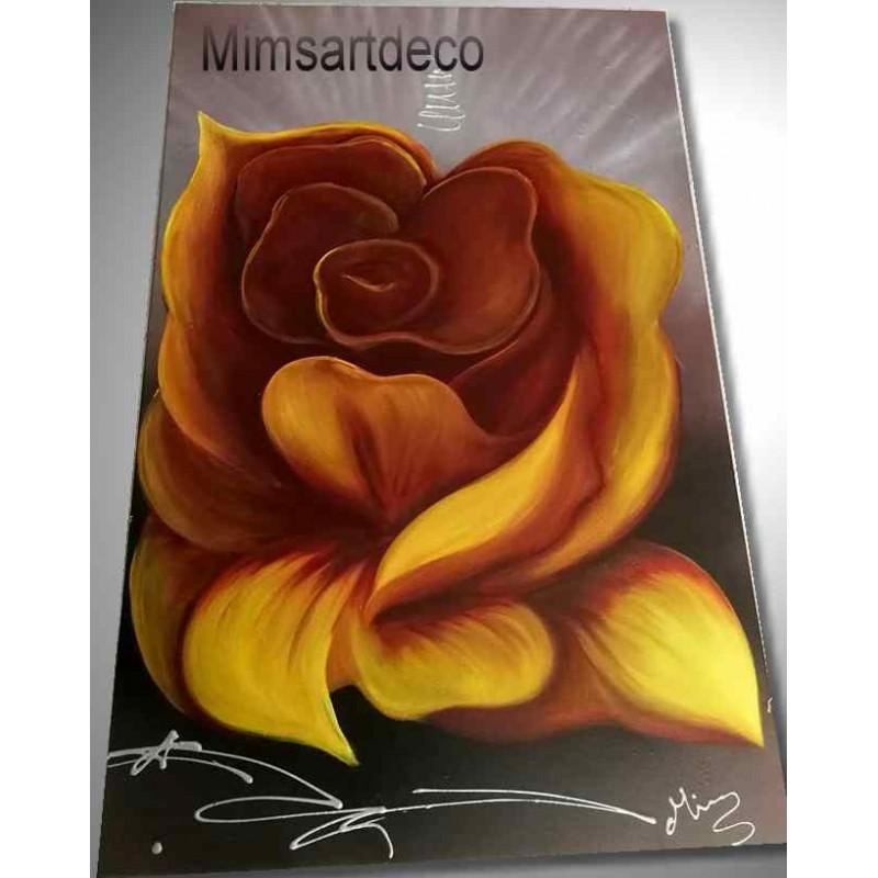 Tableau rose jaune xxl