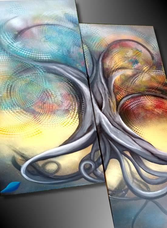 Tableau abstrait grand format arbre de vie colore