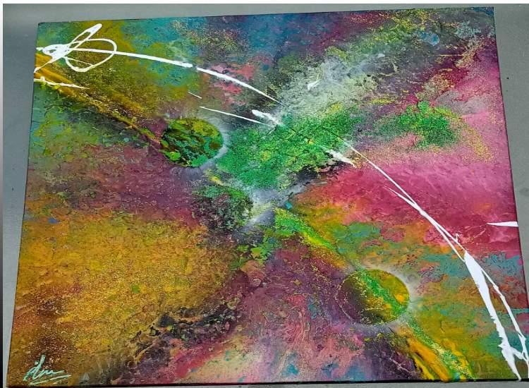 Tableau abstrait coloré unique