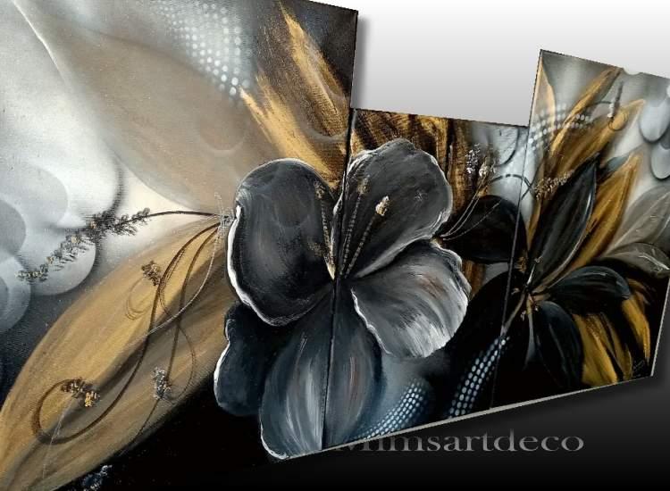 Tableau abstrait moderne noir et or