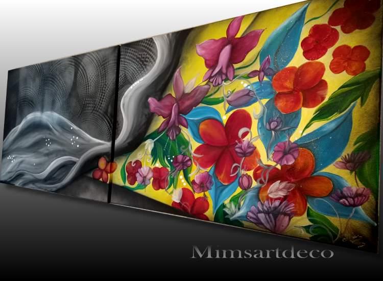 Tableau abstrait floral noir et coloré