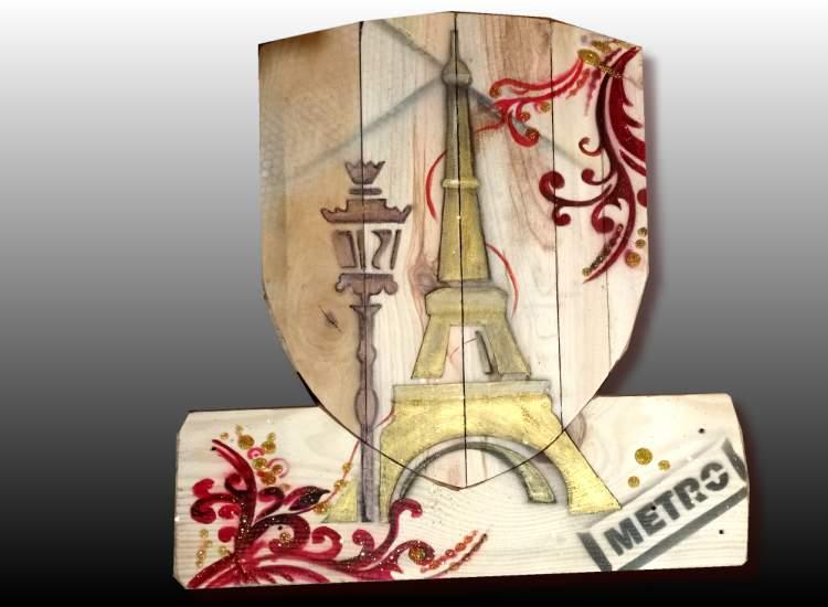 Peinture sur bois Tour Eiffel